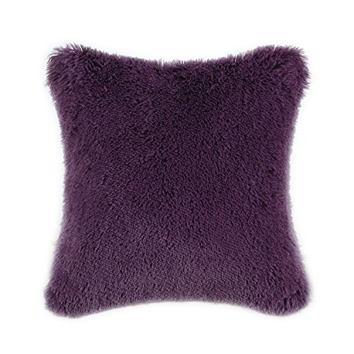 CaliTime Super Soft Throw Pillow Cover Case for Couch Sofa Bed Solid Plush Faux Fur 18 X 18 Inches Deep Purple