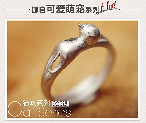 Generic Korean jewelry 925 sterling silver ring opening silver ring animal kitty girls