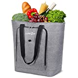 Lifewit Insulated Grocery Bag Shopping Tote, 42L Cooler Bag Leakproof Easy-Cleaning Thermal Tote, Keep Food Drinks Cold Cool Fresh, Extra Large, Grey