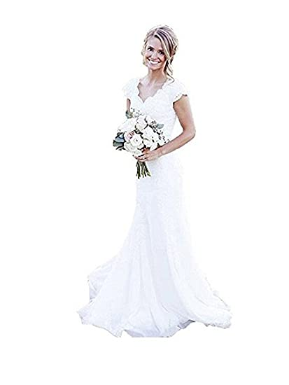 a89a50600bc3 Homdor Women's Mermaid Wedding Dresses With Lace Cap Sleeves Beach Bridal  Gown at Amazon Women's Clothing store: