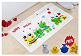 Littlefun Baby Non-Slip Bath Mat with Heat Sensitive Spot PVC for Home Bathroom Shower Kid Bath Toys Included(Frog Pattern)