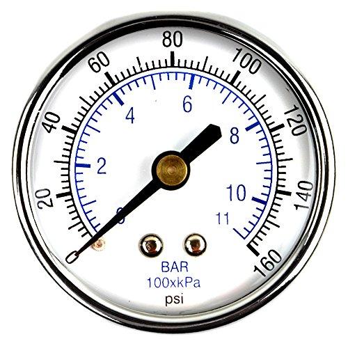 "10 x 1.5/"" Back Mount Air Compressor Pressure Pneumatic Gauge 0-160 PSI 1//8/"" NPT"
