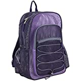 Eastsport XL Semi-Transparent Mesh Backpack with Comfort Padded Straps and Bungee, Blackberry/Lavender/Soft Silver