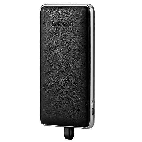 Tronsmart power Bank moveable Charger 10000 mAh Genuine Leather External Battery Pack together with Built-in Lightning Cable for iPhone iPad Samsung LG BlackBerry Google Pixel Nintendo Switch and a lot more Black