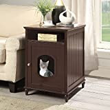 UniPaws Designer Cat House, Cat Washroom, Indoor Pet House Nightstand, Litter Box Enclosure Side Table, Wooden Cat Bathroom Crate-Espresso