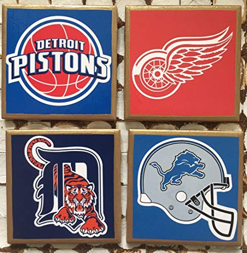 - Coasters! I heart Detroit sports set of coasters with gold trim