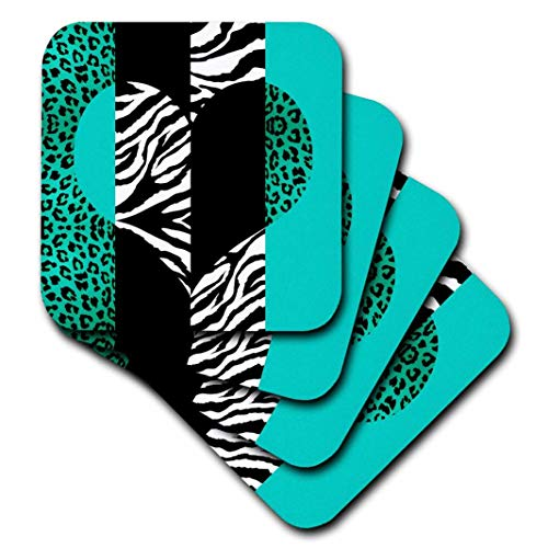 3dRose cst_35445_1 Aqua Blue Black and White Animal Print-Leopard and Zebra Heart-Soft Coasters, Set of 4 ()