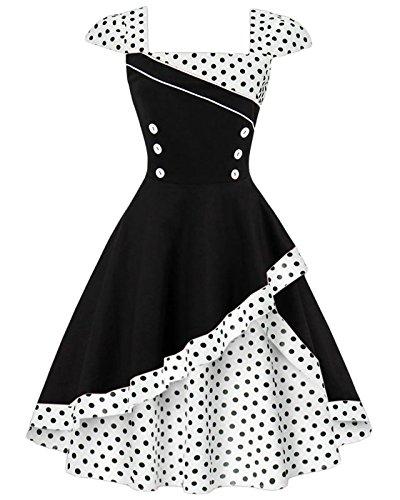 Swing Cocktail black 1398x VERNASSA Party Retro e Dress Polka Women's Vintage Dot Style White wqU6T8