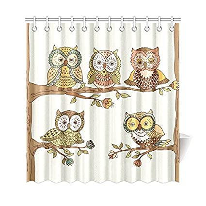 Amazon INTERESTPRINT Cute Owls On A Tree Branch Polyester