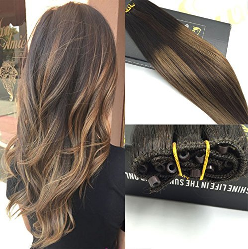 Sunny Eze Weft Extensions 12 With 50gram Brown Lowlight Micro Beads