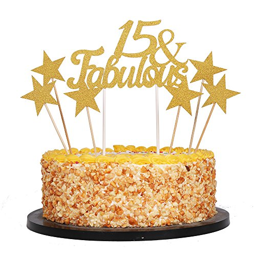 (QIYNAO 7 Gold Glittery Fabulous Cake Topper and Five-Pointed Star, Wedding, Birthday, Anniversary, Party Cupcake Topper Decoration (15& Fabulous))