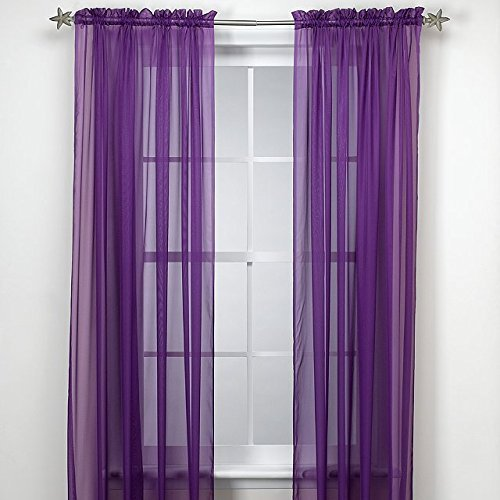 Grace Comfort 2 Piece Solid Purple Sheer Panel Curtain Set 60″ X 84″ Window Treatment