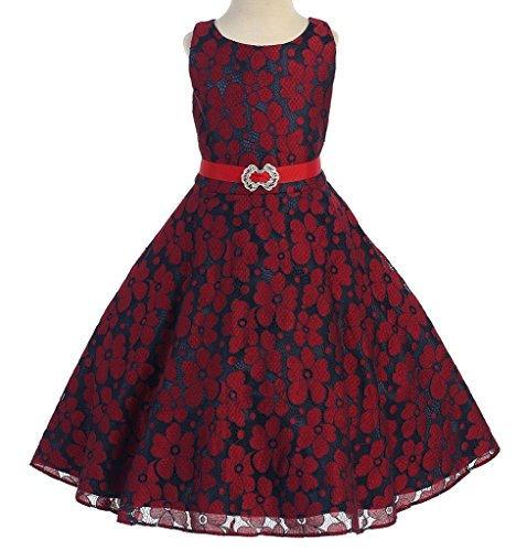 AkiDress Round Neck Floral Pattern Flower Girl Dress for Little Girl Red 8 (Round Peach Coral Bead)