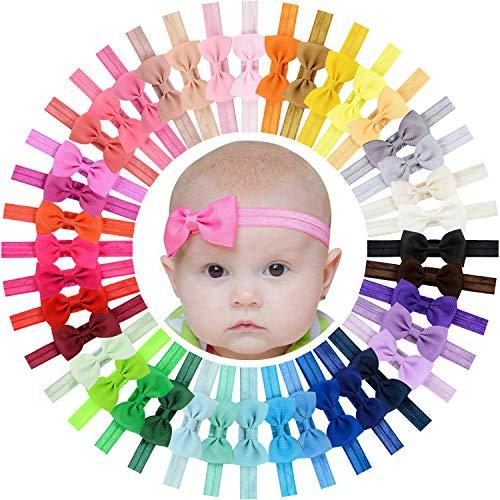 WillingTee 40pcs Baby Girls Headbands 2.75' Grosgrain Ribbon Hair Bow Hair Band Hair Accessories for Baby Girls Infants Toddlers Kids Newborns