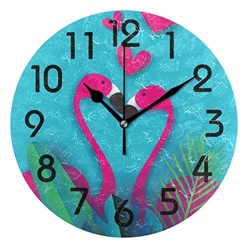 - Dozili Stylish Exotic Flamingo Couple in Tropical Jungle Pattern Round Wall Clock Arabic Numerals Design Non Ticking Wall Clock Large for Bedrooms,Living Room,Bathroom