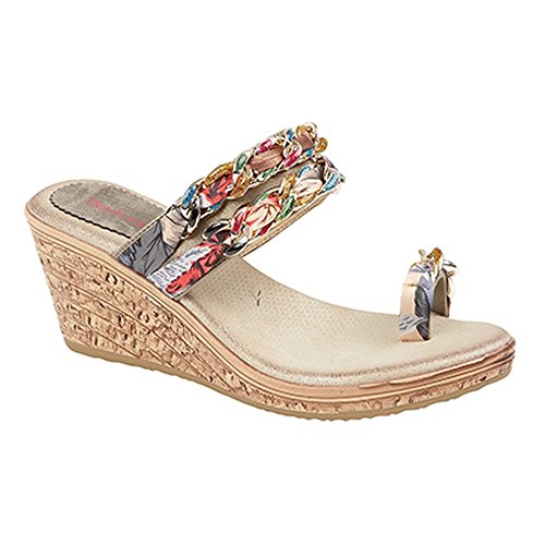 Boulevard Womens/Ladies Jewel Fabric Trim Heeled Sandals Pewter VCBu1dZZsh