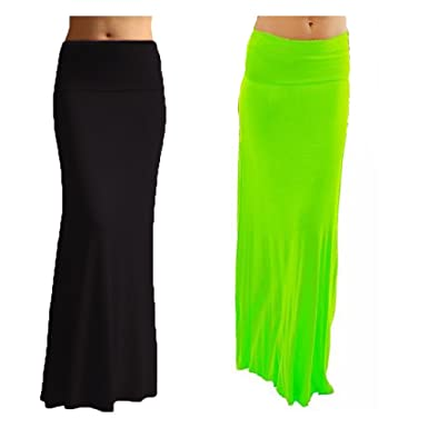 bba80504bb Dinamit Jeans 2 Pack Women's Rayon Spandex Maxi Skirt Black Apple S