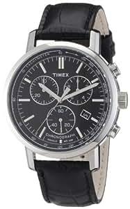 Timex T2N561 - Reloj cronógrafo de cuarzo para hombre con correa de piel, color negro