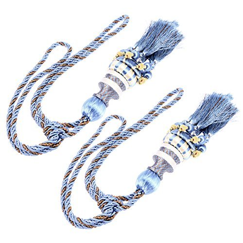 WINOMO 1 Pair of Beaded Tassels Curtain Tieback Holdback Holders Buckle for Home Drape Decoration (Sky Blue)