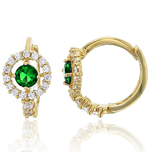 (14K Yellow Gold 6.5x10mm Micropave Clear and Green Emerald CZ Round Halo Huggie Earring)