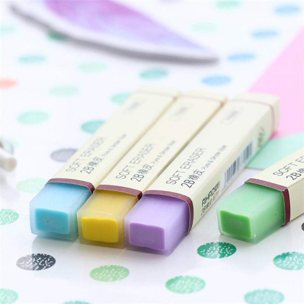 40 pcs/Lot Color stick pencil eraser 2B Soft Erasers Stationery Office accessories supplies borracha escola by PomPomHome (Image #3)