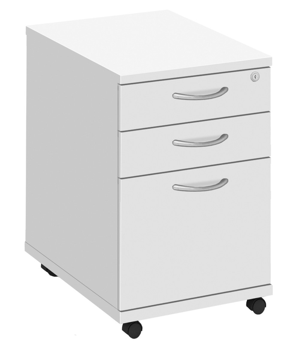 Office Hippo Fraction Plus High Under Desk Pedestal Drawers, Three Drawer - White FPHMP3D/WHT