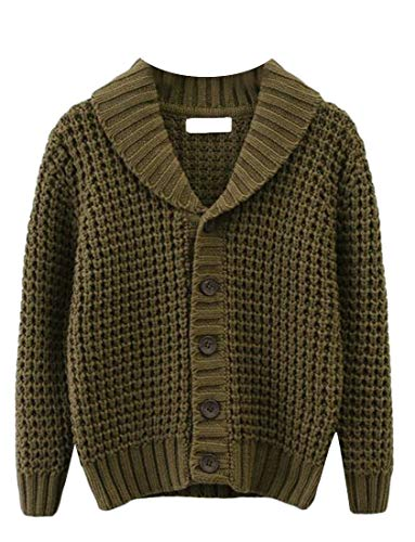 Basic Knitted Button Shawl Collar Hollow Coat Jacket Cardigan Army Green 5T ()
