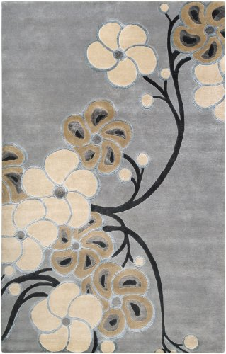 Smithsonian by Surya Heritage HTG-1003 Transitional Hand Knotted 100% Semi-Worsted New Zealand Wool Gray Blue 2' x 3' Accent Rug (Transitional Floral Gray Wool)