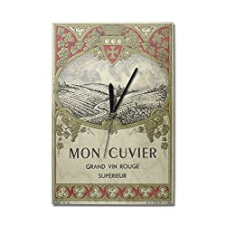 Lantern Press Mon Cuvier - Vintage Wine Label (10x15 Wood Wall Clock, Decor Ready to Hang)