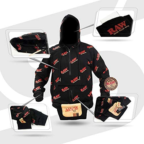 Rolling Papers X RAW Rawler Hoodie   Multi Function Smokers Hoodie with  Face Mask   Size Large Red Black: Amazon.sg: Fashion