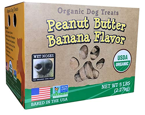 Wet Noses All Natural Dog Treats, Made in USA, 100% USDA Certified Organic, Non-GMO Project Verified (5 Lb, Peanut Butter & Banana)