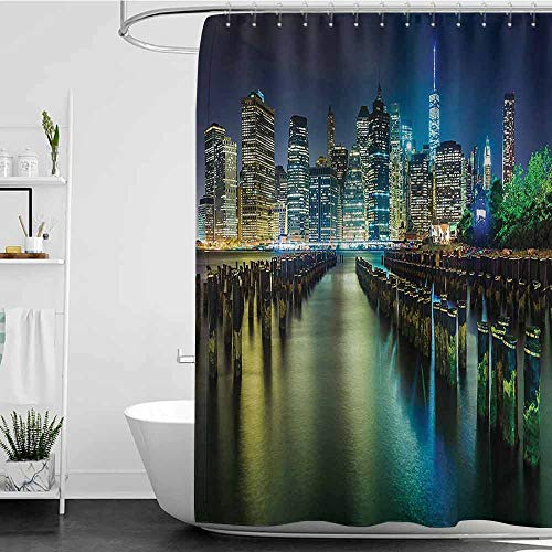 homecoco Shower Curtains tub New York,Pier Pilings and Manhattan Skyline at Night Downtown Urban East River,Dark Blue Green Yellow W72 x L72,Shower Curtain for clawfoot tub