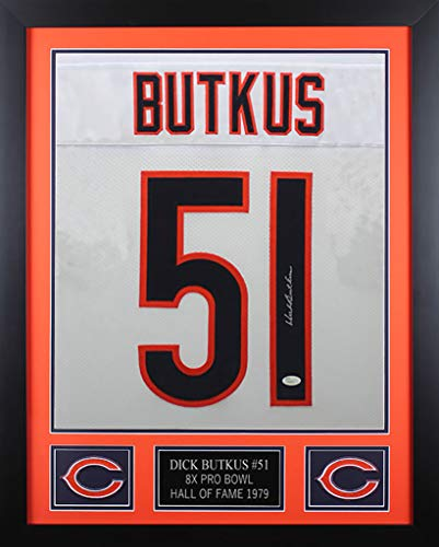 Dick Butkus Autographed White Bears Jersey - Beautifully Matted and Framed - Hand Signed By Dick Butkus and Certified Authentic by JSA - Includes Certificate of ()