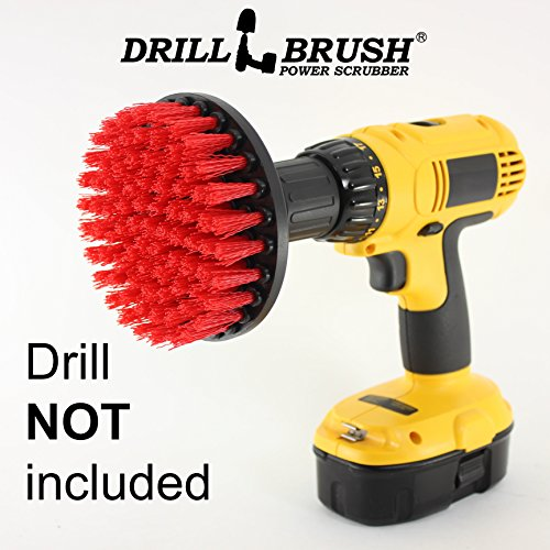 Drillbrush 5 inch Diameter Red Stiff Bristled Drill Powered Cleaning Brush with Quarter Inch Quick Change Shaft (Brick Cleaner Fireplace)