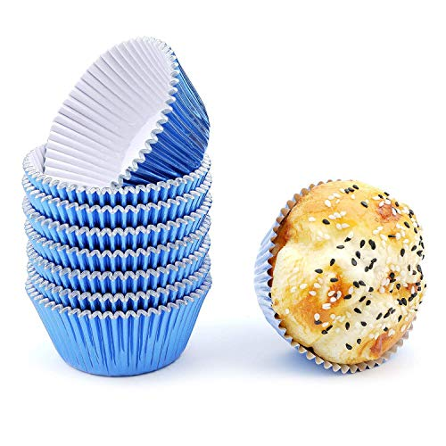 (Bakuwe Blue Foil Cupcake Liners Standard Muffin Baking Cups, Pack of 200)
