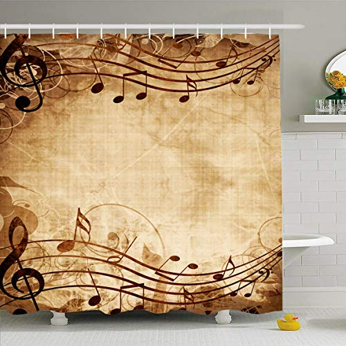 Ahawoso Shower Curtain 72x72 Inches Graphic Brown Vintage Old Music Sheet Musical Note Notes Yellow Composer Book Clef Page Antique Worn Waterproof Polyester Fabric Set with Hooks ()
