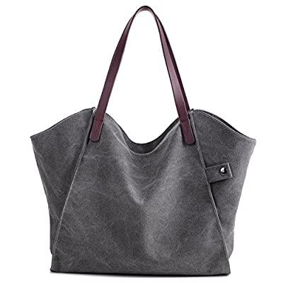 Canvas Shoulder Bag Casual Big Shoppingbags Tote Handbag Work Bag Travel Bags for Women Girls Ladies - ZhmThs …