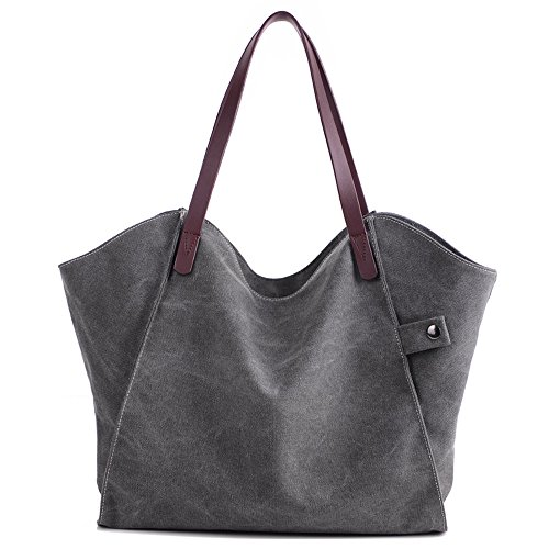 ZhmThs Canvas Shoulder Bag Casual Big Shoppingbags Tote Handbag Work Bag Travel Bags for Women Girls Ladies by ZhmThs (Image #7)