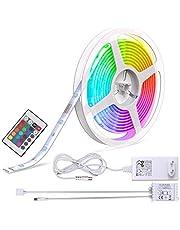 B.K.Licht taśma LED, łańcuch świetlny LED, listwa LED, biały, kolorowy, 5 m, w zestawie pilot zdalnego sterowania, zmiana kolorów, samoprzylepna, IP20/IP44