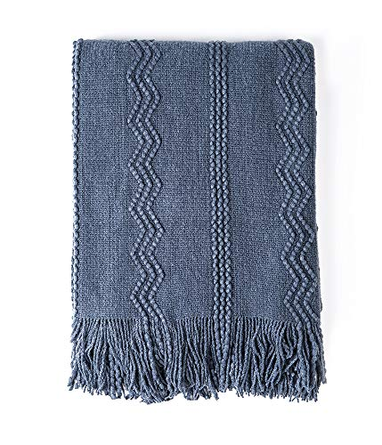 BOURINA Throw Blanket Textured Solid Soft Sofa Couch Decorative Knitted Blanket, 50