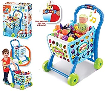 441bbd0d23a6b Image Unavailable. Image not available for. Colour: ND TOYS 3 in 1 Kids  Supermarket Shopping Cart Hand Induction with Light & Sound