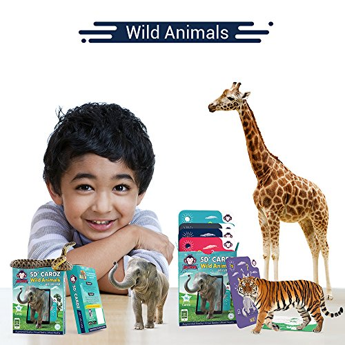 RedChimpz – Augmented and Virtual Reality Based 5D+ Educational Flashcards for Kids 3 Years, Learning Toy for Kids, App Includes Educational Games – Wild Animals (Set of 20)