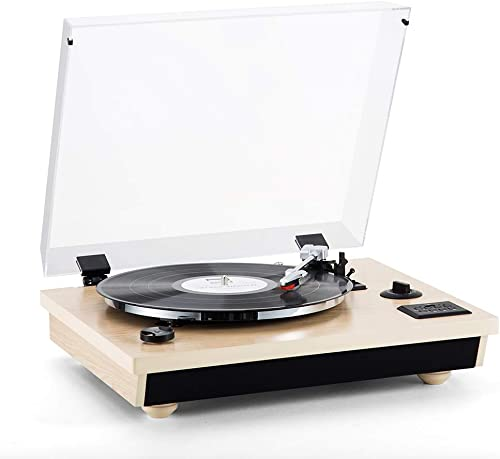Rcm Wireless 3-Speed Turntable with Stereo Speakers Natural Wood Vinyl Record Player, Belt-Drive, Vinyl to MP3 Recording, RCA Output, USB MC-262T T Oak