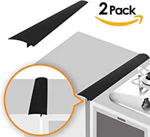 Linda's Silicone Kitchen Stove Counter Gap Cover Long & Wide Gap Filler (2 Pack) Seals Spills Between Counters, Stovetops, Oven, Washer, Dryer | Heat-Resistant and Easy Clean (25 Inches, Black)