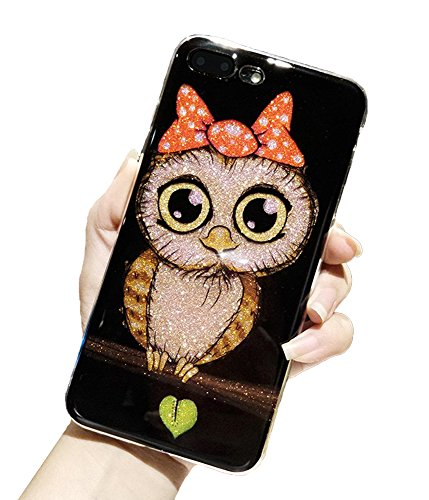 (UnnFiko Case for iPhone 7 Plus, Beauty Luxury Hybrid Bling Glitter Soft TPU Gel Shiny Sparkling Owl with Candy Back Plate Cover Case for iPhone 8 Plus (Bowknot))