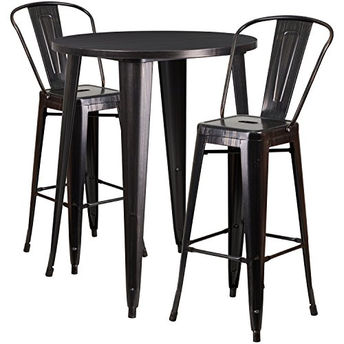 Flash Furniture 30'' Round Black-Antique Gold Metal Indoor-Outdoor Bar Table Set with 2 Cafe Stools by Flash Furniture (Image #1)