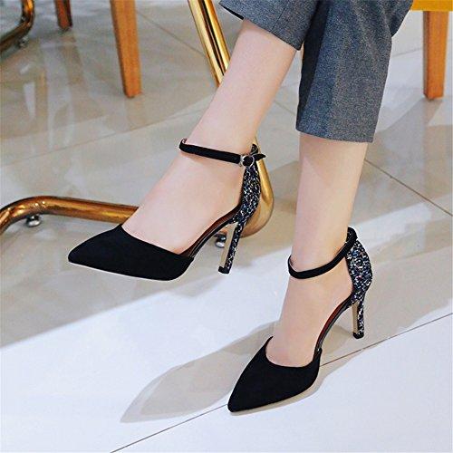 NVXIE Femme Escarpins Cheville Stilettos Talon Fermeture Chaussures Club Daim Noir Marron Taille black
