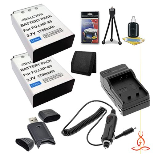 Two Halcyon 2100 mAH Lithium Ion Replacement Sony NP-BX1 Battery and Charger Kit + Memory Card Wallet + SDHC Card USB Reader + Deluxe Starter Kit for Fujifilm FinePix SL1000 Digital Camera and Fujifilm NP-85 by Halcyon