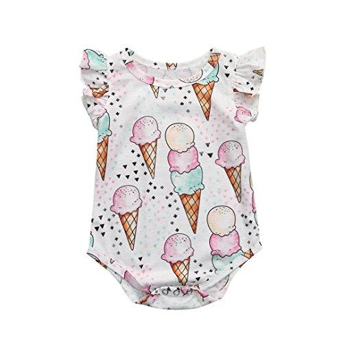 Cuekondy Newborn Infant Toddler Baby Girls Sleeveless Cartoon Ice Cream Print Romper Jumpsuit Playsuit Summer Outfit (Multicolor, 18M) ()
