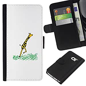 Samsung Galaxy S6 EDGE SM-G925 , la tarjeta de Crédito Slots PU Funda de cuero Monedero caso cubierta de piel (Funny - Giraffe Comic)